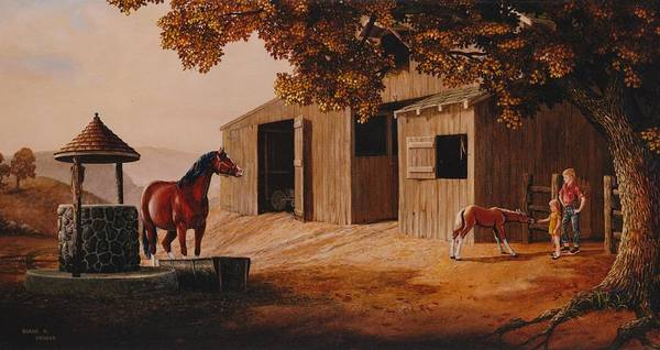Wishing Well Painting - First Meeting by Duane R Probus