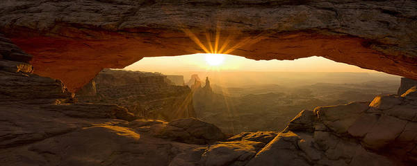 Natural Photograph - First Rays At Mesa Arch by Andrew Soundarajan