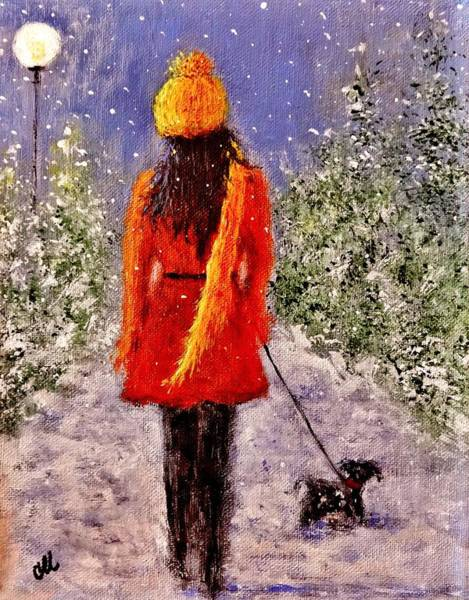 Snowdrop Painting - First Snow.. by Cristina Mihailescu