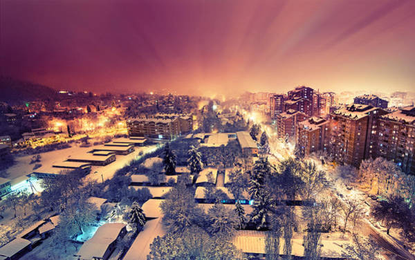 Nightscape Photograph - First Snow by Ivan Vukelic