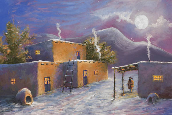 Adobe Walls Painting - First Snow by Jerry McElroy