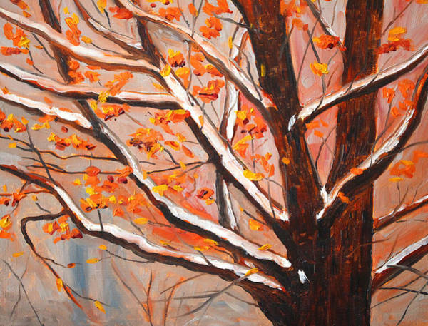 Dogwood Painting - First Snow by Nancy Merkle