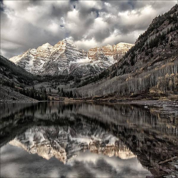 Maroon Bells Photograph - First Snow by Robert Fawcett