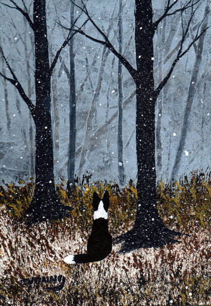 Border Collie Painting - First Snow by Todd Young