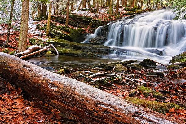 Photograph - First Snow Tucker Brook Falls by Jeff Sinon