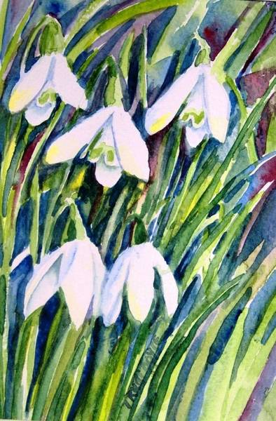 Snowdrop Painting - First Snowdrops Of Winter  by Trudi Doyle
