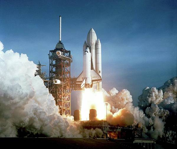 1981 Photograph - First Space Shuttle Launch by Nasa/science Photo Library