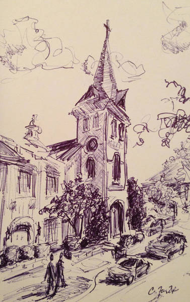 Wall Art - Painting - First United Methodist Church Huntsville Alabama by Carole Foret