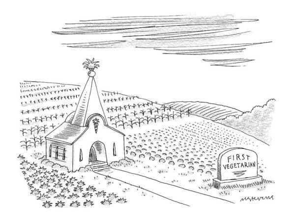 Christianity Drawing - First Vegetarian Church.  A Pineapple Instead by Mick Stevens