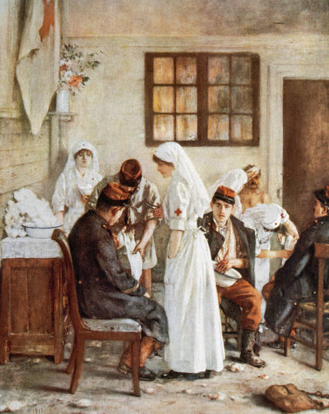 Heal Photograph - First Wordl War. Nurses With Wounded Soldiers. Poitiers by Bridgeman Images