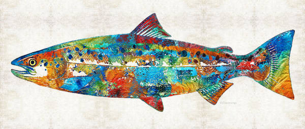 Fly Fishing Painting - Fish Art Print - Colorful Salmon - By Sharon Cummings by Sharon Cummings