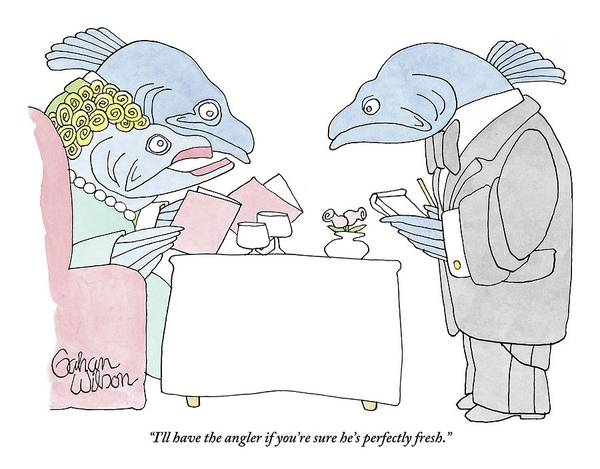 Fishing Drawing - Fish Couple In Restaurant by Gahan Wilson