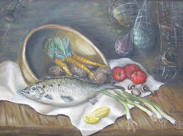 Painting - Fish For Dinner by Katalin Luczay