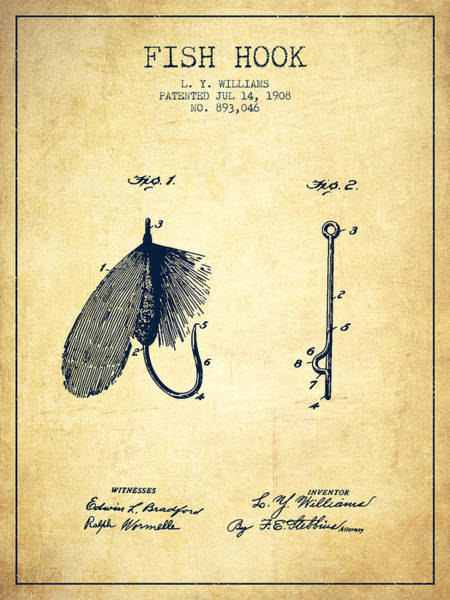 Wall Art - Digital Art - Fish Hook Patent From 1908- Vintage by Aged Pixel