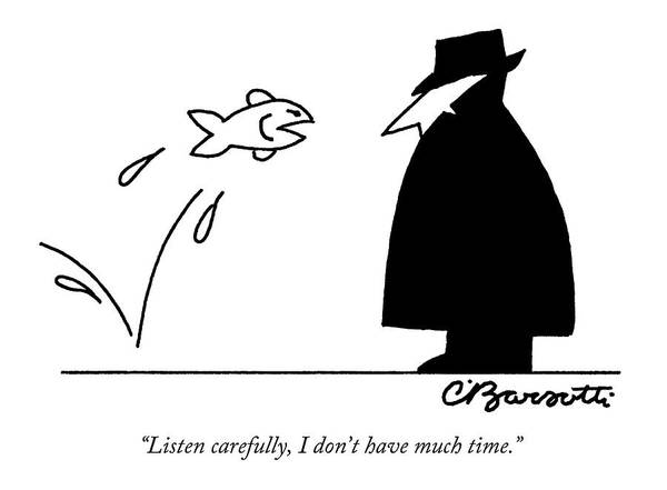 Fish Drawing - Fish Informant Jumps Toward Man In Trench Coat by Charles Barsotti