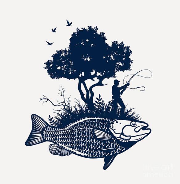 Wall Art - Digital Art - Fish Island With Fisherman And Tree by Moloko88