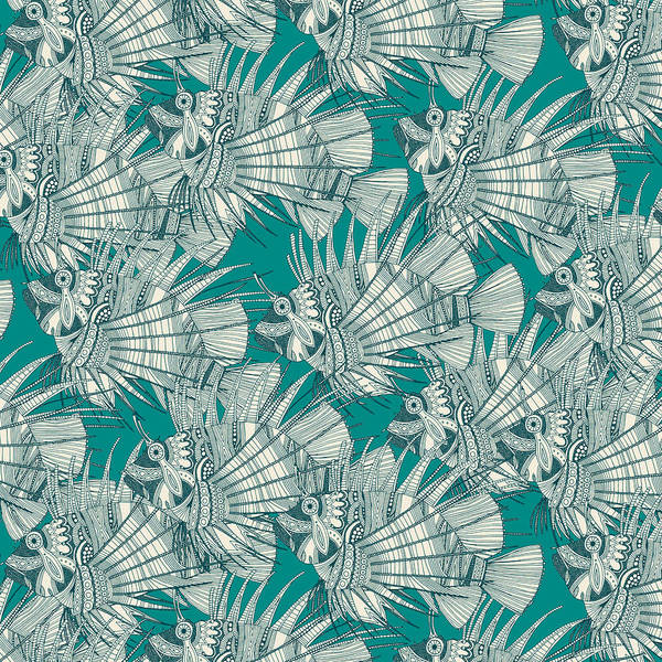 Tropical Drawing - Fish Mirage Teal by MGL Meiklejohn Graphics Licensing