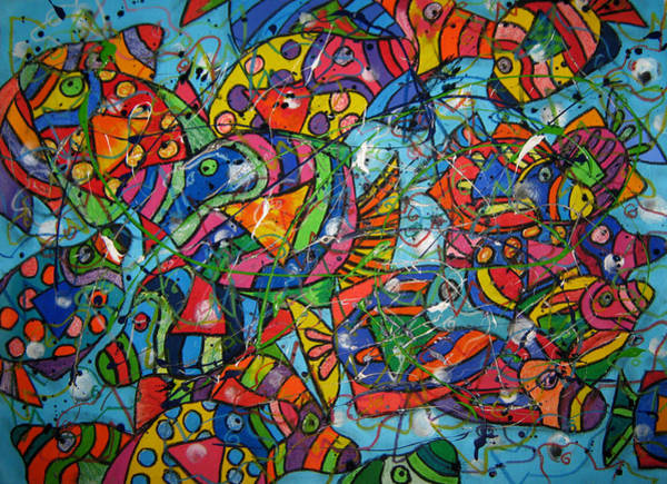 Wall Art - Painting - Fish School by Karen Elzinga
