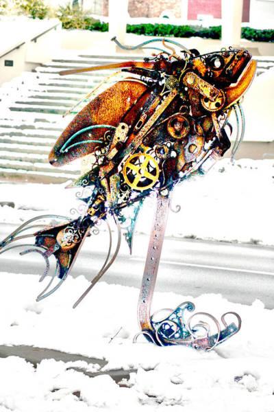Photograph - Metal Fish Sculpture by Lesa Fine