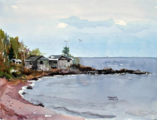 Lake Superior Painting - Fish Shacks by Spencer Meagher
