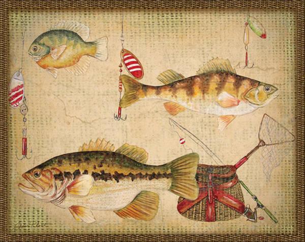 Burlap Painting - Fish Trio-a-basket Weave Border by Jean Plout