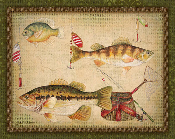 Burlap Painting - Fish Trio-a-greenborder by Jean Plout