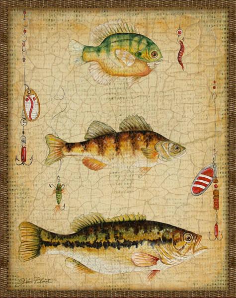 Burlap Painting - Fish Trio-c-basket Weave by Jean Plout