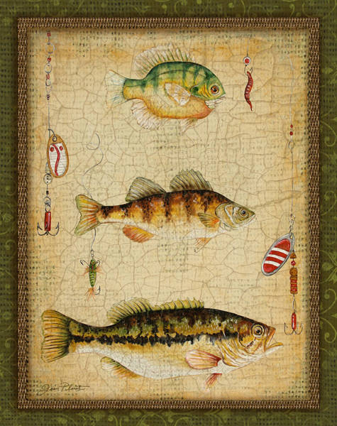 Burlap Painting - Fish Trio-c-green by Jean Plout