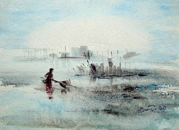 Bangladesh Painting - Fisherman by Anisur Rahman