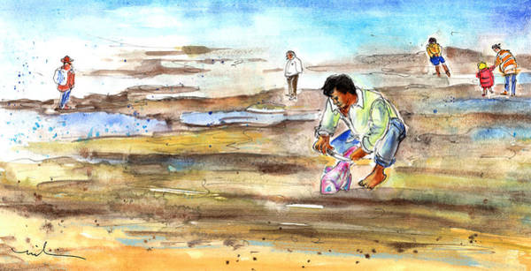 Painting - Fisherman On Las Canteras Beach by Miki De Goodaboom