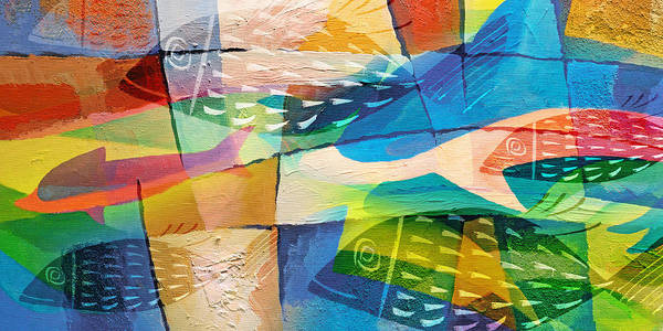 Painting - Fishes Panorama by Lutz Baar