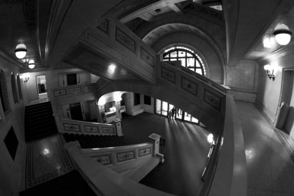 Photograph - Fisheye View Of Chicago Cultural Center Marble Stairs by Sven Brogren