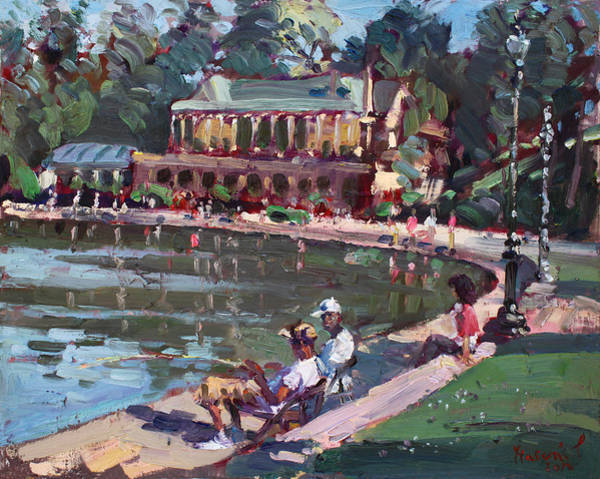 Lake House Painting - Fishing At Delaware Lake Buffalo by Ylli Haruni