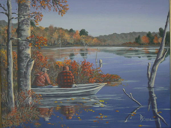 Painting - Fishing At Lake Nuangola by Ray Nutaitis