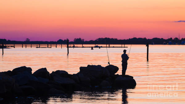Connecticut Photograph - Fishing At Sunset by Edward Fielding