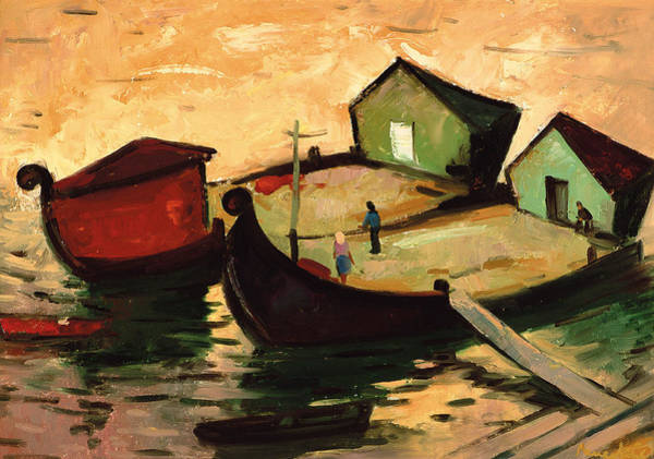 Warming Up Wall Art - Painting - Fishing Barges On The River Sugovica by Emil Parrag