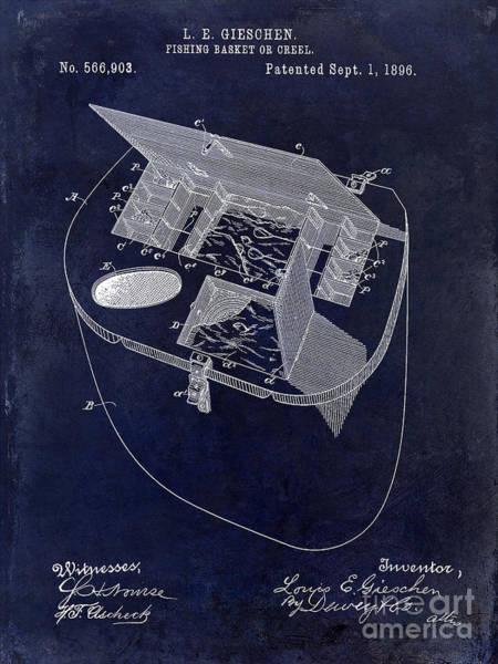 Fishing Basket Or Creel Patent Drawing Blue Art Print