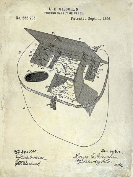 Fishing Basket Or Creel Patent Drawing Art Print