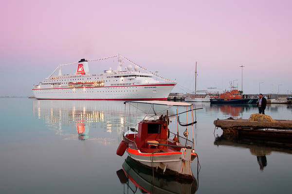 Fishing Boat Photograph - Fishing Boat And Cruise Ship by Holger Leue