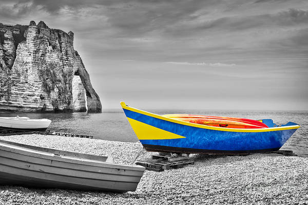 Norman Photograph - Fishing Boat At Etretat by Delphimages Photo Creations