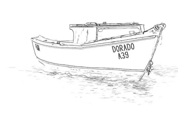 Sketch Holiday Photograph - Fishing Boat Dorado Of The Caribbean  by David Letts