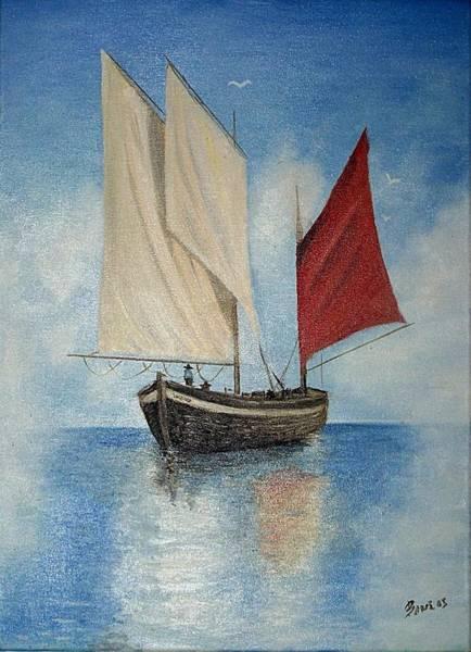 Lagos Painting - Fishing Boat by Evangelos Lagos