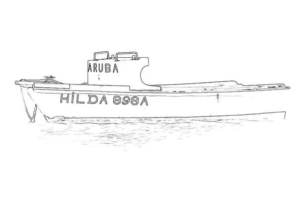 Sketch Holiday Photograph - Fishing Boat Hilda Of The Caribbean II by David Letts