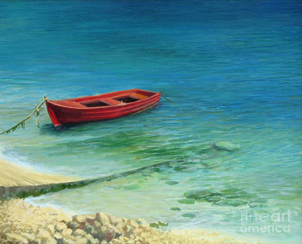 Wall Art - Painting - Fishing Boat In Island Corfu by Kiril Stanchev