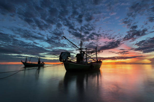Thailand Photograph - Fishing Boat In The Sea by Monthon Wa