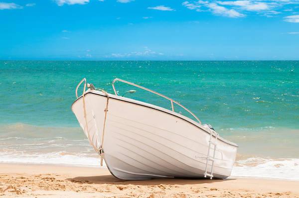 Motor Boat Photograph - Fishing Boat On The Beach Algarve Portugal by Amanda Elwell