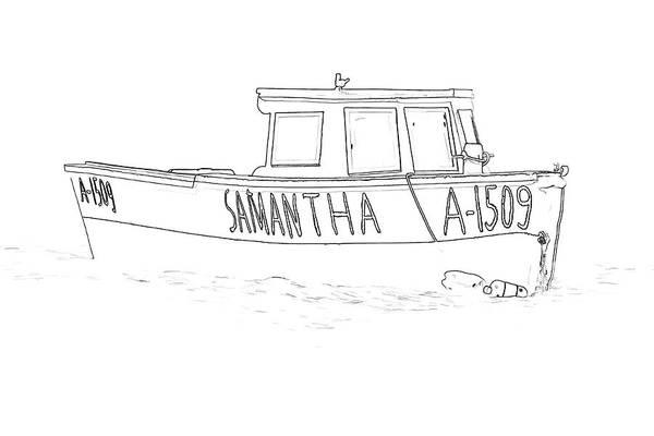 Sketch Holiday Photograph - Fishing Boat Samantha Of The Caribbean by David Letts