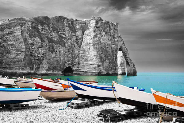 Norman Photograph - Fishing Boats At Etretat by Delphimages Photo Creations