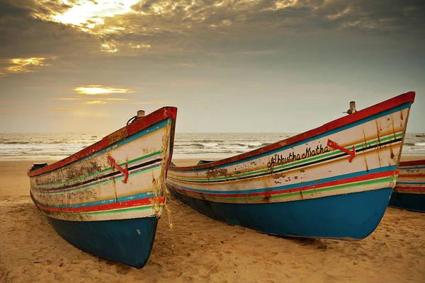 Goa Photograph - Fishing Boats, Baga Beach by Huw Jones