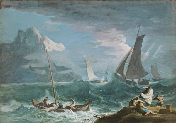 1715 Drawing - Fishing Boats In A Storm Marco Ricci, Italian by Litz Collection